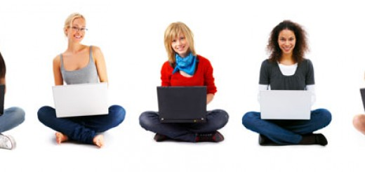 Young Girl Sitting With Laptop